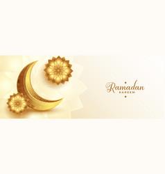Realistic golden ramadan kareem banner with moon vector