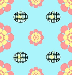 Seamless flower blue and black grid background vector image