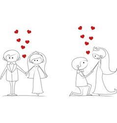 set groom and bride with flying hearts vector image