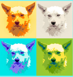 Set head dog pooch vector