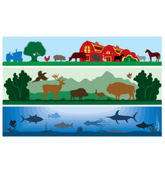 Set of black and white landscapes wildlife vector