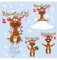 Set of four funny rein deers with christmas lights vector