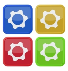 set of four square icons with nut vector image