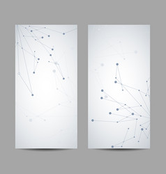 Set vertical banners with lines and dots vector