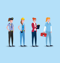 set worker people to labour day celebration vector image