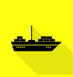 ship sign black icon with flat style vector image
