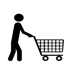 Shopping cart and man pictogram icon image vector