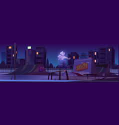 skate park with ghost jump on skateboard at night vector image