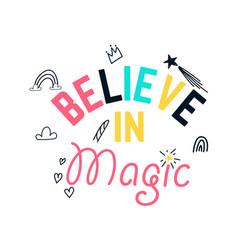 slogan and magic icons for girl print vector image