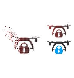 Sparkle pixel halftone drone unloading icon vector