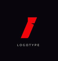 Speed letter i red race monogram logo italic vector