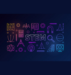 Stem creative colored banner in outline vector