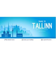 tallinn famous city scape vector image