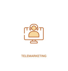 Telemarketing concept 2 colored icon simple line vector