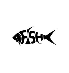 the logo or emblem word fish in shape vector image