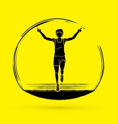 the winner athlete runner runner running graphic vector image