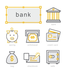 Thin line icons set bank vector image