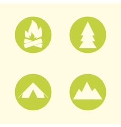 Tourist sign icon set Camping symbols Travel vector