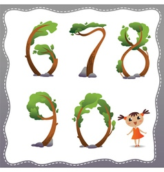 Tree number on white background vector image