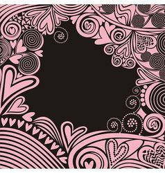 Valentines day card hearts pattern black and pink vector