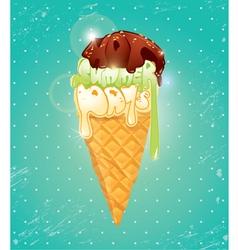 Vanilla Ice cream cone with Chocolate glaze vector image