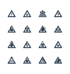 warning signs icon set in glyph style vector image