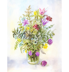 Watercolor meadow flowers in a glass jar vector
