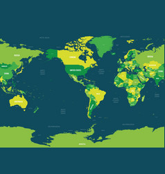 World map - america centered green hue colored vector