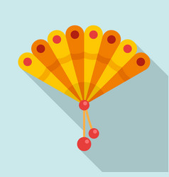 yellow hand fan icon flat style vector image