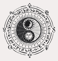 Yin yang symbol of harmony feng shui zen vector
