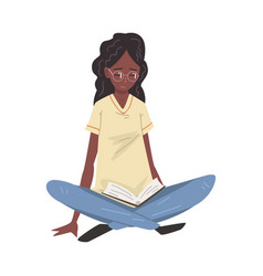 young african american woman in glasses sitting on vector image
