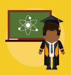 Afro graduate student with class board atom vector
