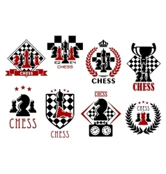Chess game heraldic symbols and emblems vector image