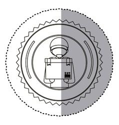Delivery worker inside seal stamp design vector