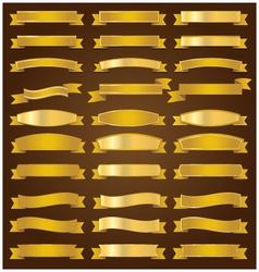 Golden ribbons set vector image vector image
