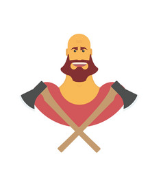 Lumberman bold man with beard strong cartoon with vector