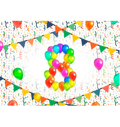 number eight made up from colorful balloons on vector image vector image