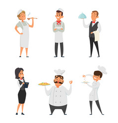 professional staff of the restaurant cook waiter vector image
