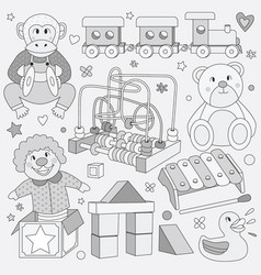 black and white children vintage toys vector image