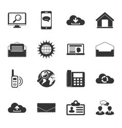 Communication black and white flat icons set vector image