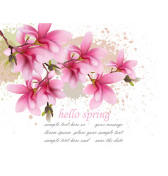 hello spring pink flowers card watercolor vector image