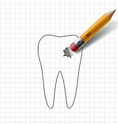 Pencil with eraser and paint on paper tooth vector