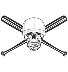 skull and crossed bat vector image
