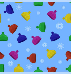 colorful winter knitted hat seamless pattern vector image vector image
