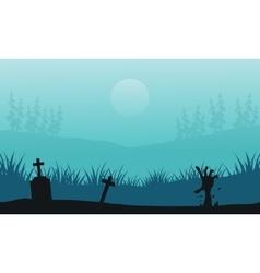 Hand zombie in tomb halloween scenery vector