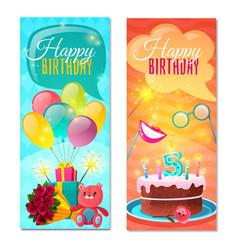Happy birthday vertical banners vector