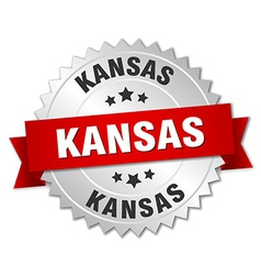 Kansas round silver badge with red ribbon vector image