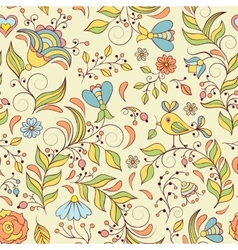 pattern with abstract flowers and bird vector image vector image
