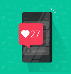Smartphone with likes counter bubble vector