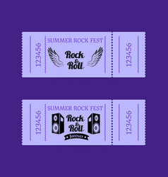 summer rock fest collection of tickets with text vector image